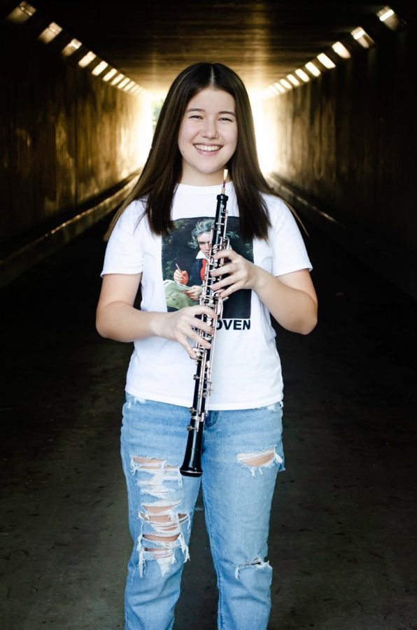 Noel Takaya and her main woodwind instrument, the oboe.