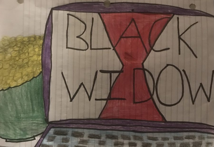 Drawing of a bowl of popcorn and a computer with the title of the film Black Widow, which comes out May 7.
