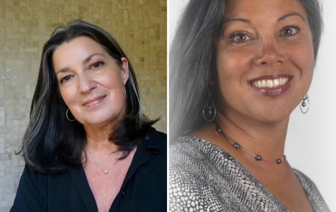 Headshot of Jackie Moran (left), the incumbent of the school board for district and headshot of Amy Callahan