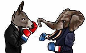 The two parties fighting represented by a donkey and an elephant. Pictured on the left is a donkey representing the republican party, and on the right an elephant representing the democratic party.