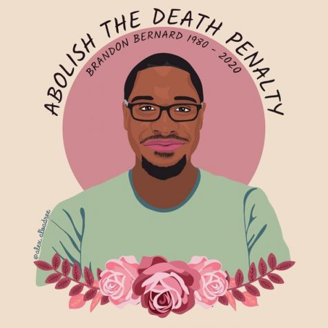 Graphic of Brandon Bernard with message of abolishing the death penalty.