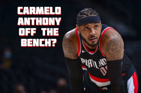 Carmelo Anthony in his trailblazers uniform with the words Off the bench?
