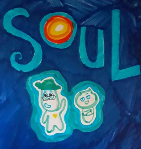 Drawing Inspired by Soul movie poster, which displays the title of the movie along with the main characters; Joe Gardner voiced by Jamie Foxx (left), and 22 voiced by Tina Fey (right)