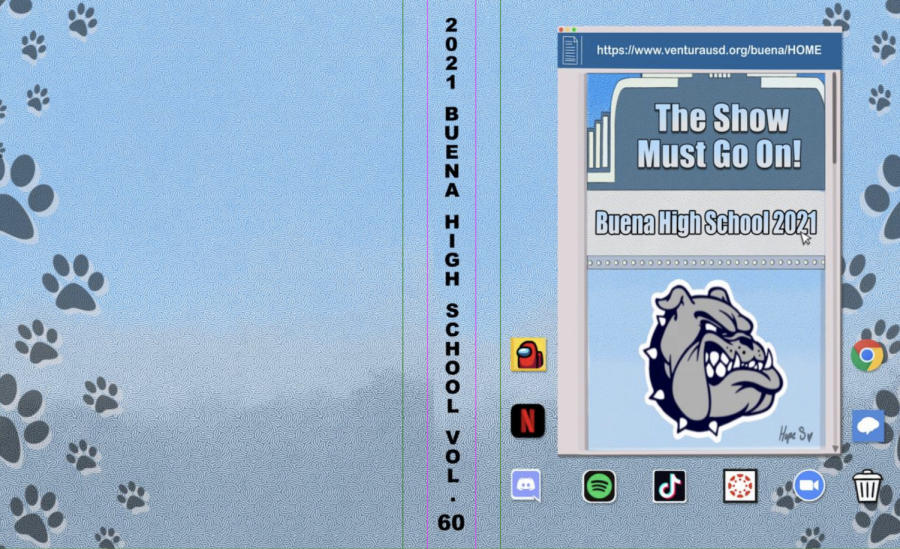 Screenshot of the official yearbook cover of 2020-2021. While combining the theme
