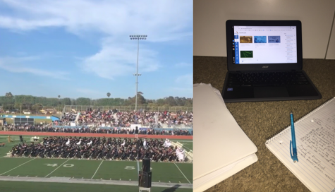 Picture (left) of a Buena high school graduation ceremony at its full glory two years ago. The other picture (right) is of a typical student desk set up for online distance learning.