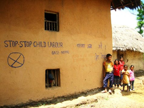 A village home in Nepal which advocates the end of child labor.