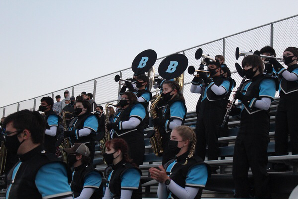 Marching band performing during the annual Buena v.s Ventura high school rivalry game April 16.