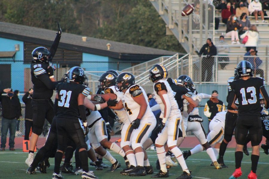 The Buena Bulldogs held their ground as they fought the Ventura Cougars April 16, during their annual rivalry game.