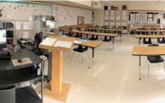 AP english teacher Ms. Perez's classroom ready for in person learning and test taking