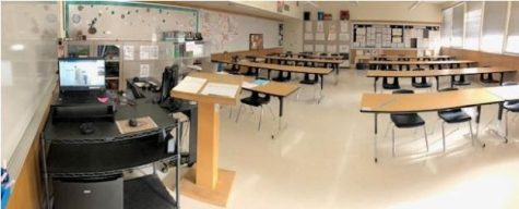 AP english teacher Ms. Perezs classroom ready for in person learning and test taking