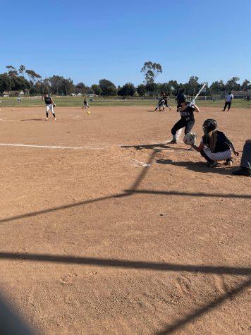 Buena junior Hannah Miller up to bat.