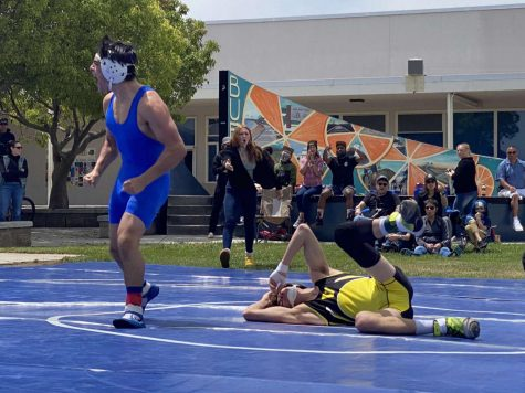 Nathan Sbriglio taking the win at the Buena v. Ventura high rivalry match Saturday, May 1.