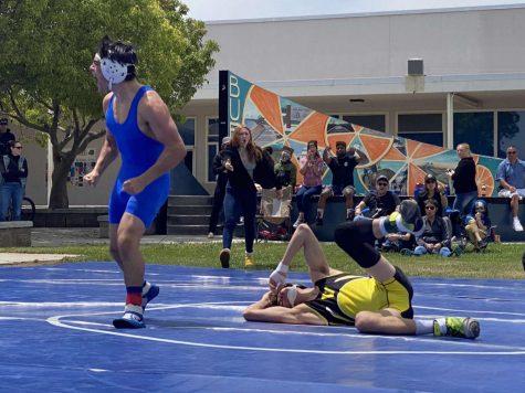 Nathan Sbriglio taking the win at the Buena v. Ventura high rivalry match Saturday, May 1.
