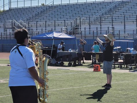 Buena Marching Band led under the conduction of James Rumenapp Saturday, Oct. 16 at Buenas football stadium in order to prepare for future performances this season