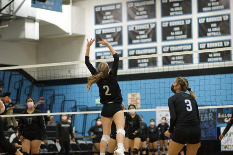 Senior Teagan Mills jumps to the get ball over the net to get the next point for the Buena Bulldog's, against Pacifica Oct. 7