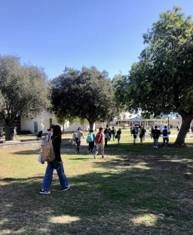 Finally in person, Buena students walk during their passing period, from fifth to sixth period class on Oct. 15.